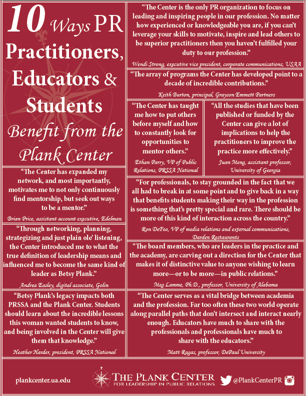10 Ways PR Practitioners, Educators & Students Benefit From the Plank Center